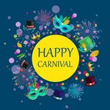 Blue happy carnival background with colour masks. Blue and yellow happy carnival background with colour masks, hats and fireworks. Vector paper illustration.r Royalty Free Stock Images