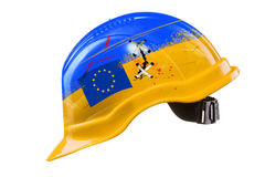 Blue and yellow hard hat with cracks, scratches and EU flag. KIE Stock Images