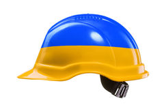 Blue and yellow hard hat isolated on white. Stock Photography