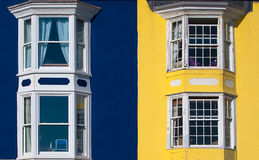 Blue and Yellow Houses Royalty Free Stock Photos