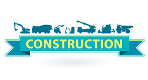 Blue and yellow icon with set of ground works machines vehicles. Heavy construction equipment. Royalty Free Stock Photography