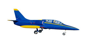 Blue and yellow jet Stock Photography