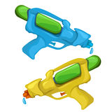 Blue and yellow kids toy water pistols. Vector Royalty Free Stock Photography