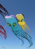 Blue and Yellow Kites. Kite's Festival Royalty Free Stock Images