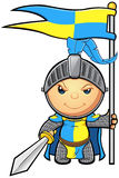 Blue and Yellow Knight Character Royalty Free Stock Images