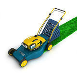 Blue and yellow lawnmower with grass Royalty Free Stock Image