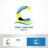 Blue yellow letter c logo icon Royalty Free Stock Photo