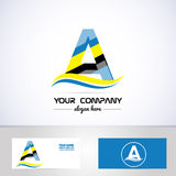 Blue yellow letter a logo Royalty Free Stock Photos