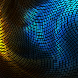 Blue and yellow lights mosaic. Abstract  blue and green lights 3D mosaic horizontal  background Stock Images