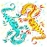 Blue and yellow lizards on a white background. Blue and yellow stylized lizards on a white background Stock Photography