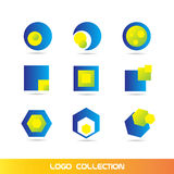 Blue yellow logo elements icon set collection Royalty Free Stock Image