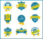 Blue and yellow marketing labels (set of 9) Stock Photography