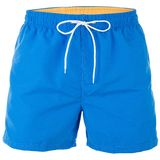 Blue and yellow men shorts for swimming. Isolated on white background royalty free stock photography