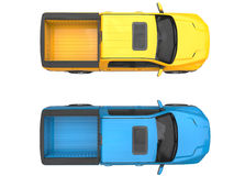 Blue and yellow modern pick-up trucks - top view Royalty Free Stock Photography