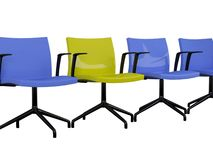 Blue and yellow office armchairs isolated Stock Photography