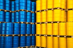 Blue and yellow oil drums Royalty Free Stock Photography