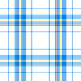 Blue yellow orange check diamond tartan scot plaid fabric material seamless pattern Stock Photography
