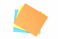 Blue, yellow and orange cloth for cleaning. Royalty Free Stock Images