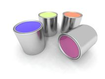 Blue, yellow, orange and purple paint cans. A 3d renderer of some paint cans Stock Photography