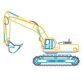 Blue yellow outline big digger builds roads on white. Digging of ground. Heavy machinery. Stock Image