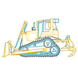 Blue yellow outline big digger builds roads on white. Digging of ground. Heavy machinery. Stock Photography