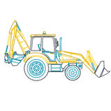 Blue yellow outline big digger builds roads on white.  Royalty Free Stock Image