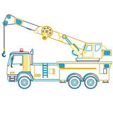 Blue yellow outline crane with hook and arm on white. Stock Photos
