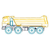 Blue yellow outline heavy truck on white. Blue yellow outline heavy truck builds roads. Nice icon - Digging of sand, coal, waste rock and gravel. Blue Stock Photography