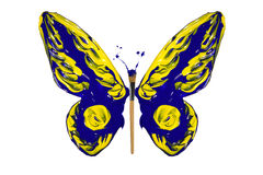 Blue and yellow paint made butterfly Stock Image