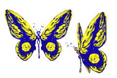 Blue yellow paint made butterfly set Stock Photo