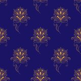 Blue and yellow paisley seamless pattern Royalty Free Stock Photo