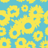 Blue-yellow pattern with daisies. Millefleurs liberty style. Ditsy floral pattern for printing on fabric,  women`s clothes Stock Photos