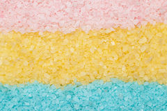 Blue yellow and pink aromatic bath salt Stock Images