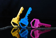 Blue Yellow And Pink Keys Stock Image