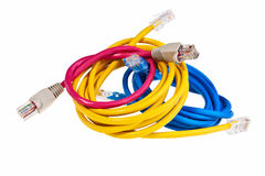 Blue, yellow and pink patch cords. Stock Photo