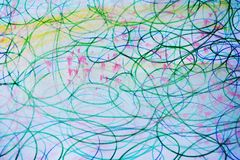 Blue yellow pink watercolor background with pencil lines Royalty Free Stock Photo