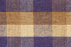 Blue and yellow plaid fabric close up Royalty Free Stock Image