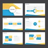 Blue yellow presentation templates Infographic elements flat design set for brochure flyer leaflet marketing Stock Photos