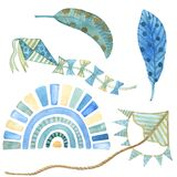 Blue Yellow rainbow, paper kite and berd feather Watercolor Clipart. Boho style hand-drawn art decor. Baby boy shower