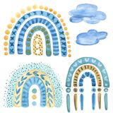Blue and Yellow rainbow Watercolor Clipart. Boho style hand-drawn art decor. Baby boy shower party design. Set