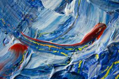 Blue, Yellow, and Red Abstract Painting stock image