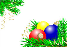 Blue,yellow and red christmas balls Royalty Free Stock Photo