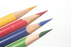Blue Yellow Red Green Colored Pencils Stock Photos