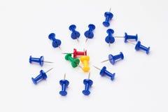 Blue, yellow, red and green thumbtacks. Royalty Free Stock Image