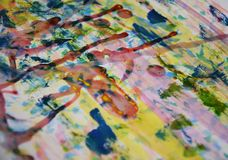 Blue yellow red paint, white wax, watercolor abstract background royalty free stock photos