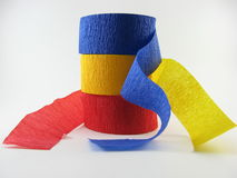 Blue, yellow, red, party streamers Stock Photo