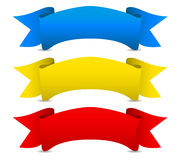 Blue yellow red Vector ribbons - Scroll banners Royalty Free Stock Photo