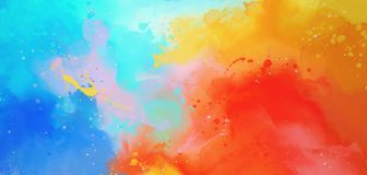 Blue yellow red watercolor. Bright Abstract watercolor drawing on a paper image vector illustration