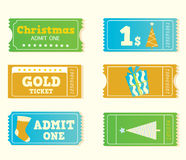Blue and yellow retro cinema christmas tickets. Christmas shopping or entertainment? Use my tickets! Retro  tickets in retro style Stock Photo