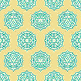 Blue and yellow retro flowers Royalty Free Stock Images